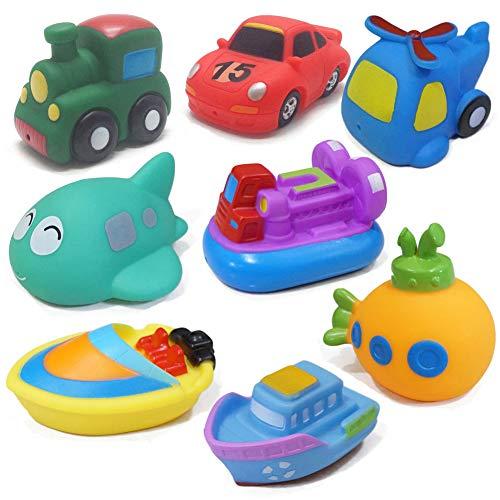 WENTS Juguetes de baño 8PCS Juguetes del Barco de la bañera Juguetes para el baño Suave Juguetes para el Agua de Aprendizaje de la bañera y Juguetes para niños pequeños