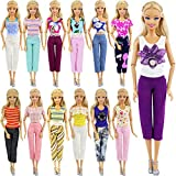 ZITA ELEMENT 5 Set Mini Mode À la Main Casual Costume de Vêtements Courte Blouse et Pantalon pour Poupées Barbie Cadeau Noël (Modèle aléatoire)