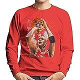 VINTRO Michael Jordan Red Bulls Jersey Sweat-Shirt Homme Original Portrait par Sidney Maurer (Fire Red, XXL)