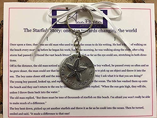 The Starfish Story'it made a difference to that one' inspirational handstamped keychain