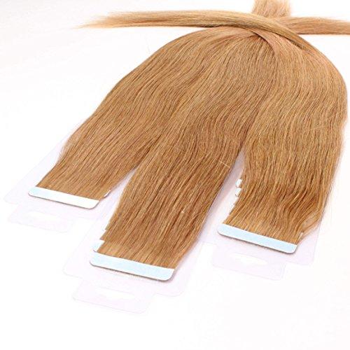 Hair2heart Tape-in haarextensies van echt haar, 10 x 2,5 g, glad 60cm #12 Honing blond