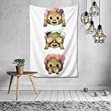 Woidxzxza See No Evil Monkey Emoji Hipster Flower Crown Tumblr Tapestry Wall Hanging with Art Nature Home Decorations for Living Room Bedroom