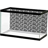 Black and White Fish Tank Background Poster Lacework Patterned Background with Monochrome Paisley and Daisy Motifs Underwater Poster Fish Tank Wall Decorations Sticker Black White L36 X H24 Inch