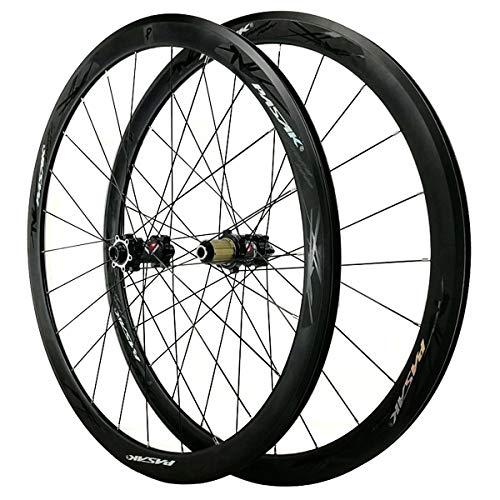 VBCGGGG 700C Biycle Wheelset Disc/V-Freno QR Road Bike Rim Dõ  Blë Wall Alloy Rum 40mm Cuento de cojinete Sellado para Cassette 7/8/9/10/11/12 Velocidad 6 Pasantes Rueda Libre
