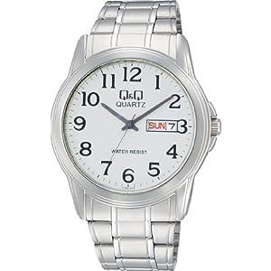 [シチズン Q&Q] 腕時計 アナログ 防水 日付 曜日 メタルバンド A142-214 メンズ シルバー