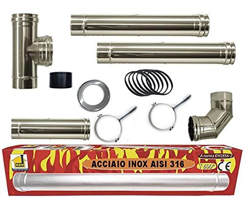 estufa de pellets tubo Kit tubos de 80 mm de acero INOX 316 L 600 ° CE negro NO resistente Hecho en Italia 1856-2