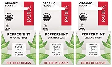 RADIUS - Natural Soft Floss, Xylitol for an Oral Care Boost, Total Tooth and Gum Protection, 100% Vegan (Mint, 55 yd, Pack of 3)