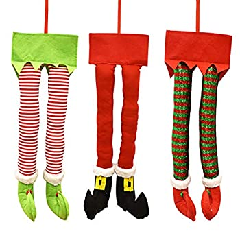 Gift Boutique Christmas Santa and Elf Legs Plush Stuffed Feet with Shoes Stuck in Christmas Tree Decor Green and White Colors Set of 3 Decorative Ornament Decorations 23 inches long