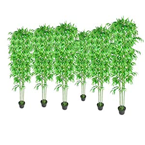 Unfade Memory Bamboo Artificial Plants Home Decor Set of 6 Faux Trees