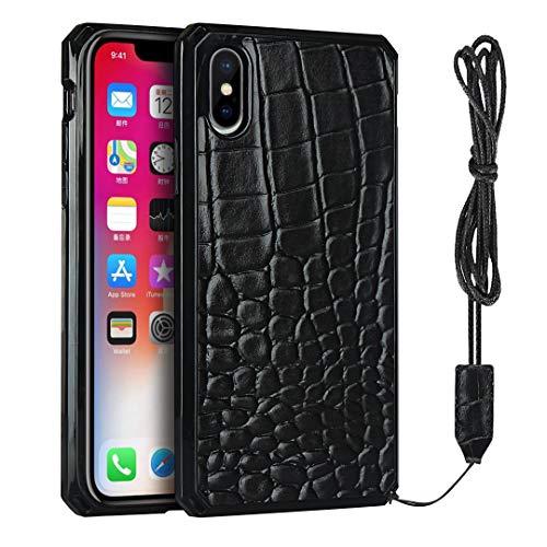 Telefon-Schutzhülle für iPhone XS Max (6,5 Zoll), Krokodil-Design, mit Umhängeband, Schwarz