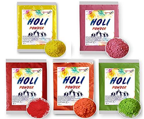 INDIAN STORE 24 Holi Gulal Polvo Soluble en Agua Festival Natural Fotografía Sesión Rangoli Colores Arco Iris Polvo Bolsa de Color Santo Brillo Color Polvo Fotos (5 Color Mix)
