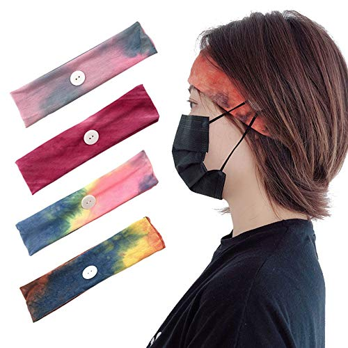 4 PACK headbands with buttons, nurse women's and men's button headbands, face mask holders, non-slip headbands for sports and running (4 sets)