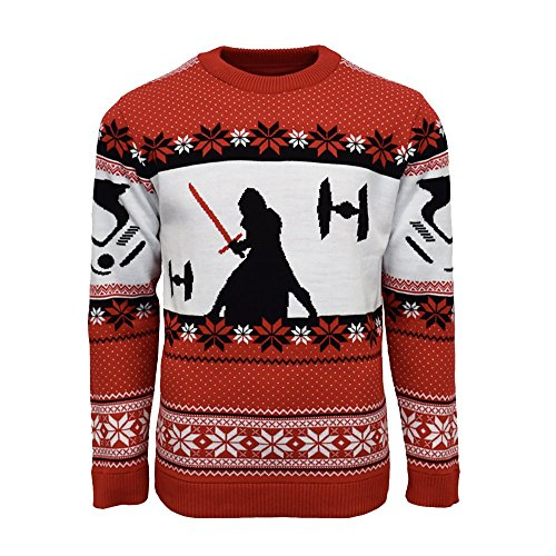 Official Star Wars Kylo Ren Christmas Jumper/Ugly Sweater - UK XL/US L Red