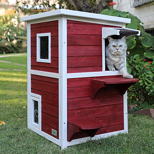 Petsfit Outdoor Cat House, 2 Story Outside Cat Shelter Condo Enclosure with Escape Door for Stray...