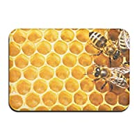 ミツバチと蜂蜜 honey 屋内屋外ドアマットラグフロアマット滑り止め寝室用バスルームリビングルームキッチン23.6×15.7インチ家の装飾