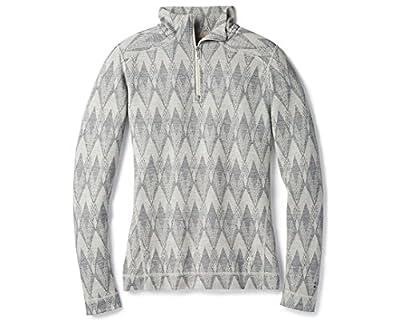 Smartwool Women's Base Layer Top - Merino 250 Wool Pattern Active 1/4 Zip Outerwear Light Gray-Moonbeam Heather - Past Season X-Small