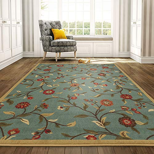 Ottomanson Ottohome Garden Design Modern Area Rug with Non-Skid Rubber Backing, 8'2'W x 9'10'L, Blue, 8'2' X 9'10', Sage Green Floral
