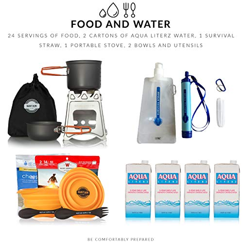 Product Image 1: Sustain Supply Co.-9-08420 Premium Family Emergency Survival Bag/Kit – Be Equipped with 72 Hours of Disaster Preparedness Supplies for 4 People