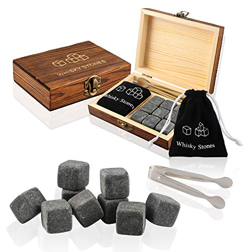 Whisky Piedras, Piedras de Whisky, 9 Piezas de Whisky Piedras, Whisky Rocks Granito, Cubitos de Hielo Reutilizables, Caja de Madera con Pinzas para Hielo, Bolsa de Almacenamiento y Piedras para Hielo