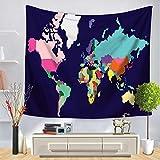 WERT Mapa del Mundo patrón Tapiz de Pared Manta Colgante de Pared decoración...
