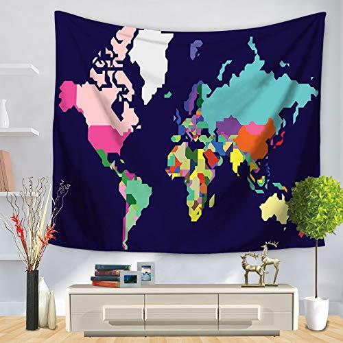 KHKJ Mapa del Mundo patrón Tapiz de Pared Manta Colgante de Pared decoración de casa de Campo decoración del hogar A12 95x73cm