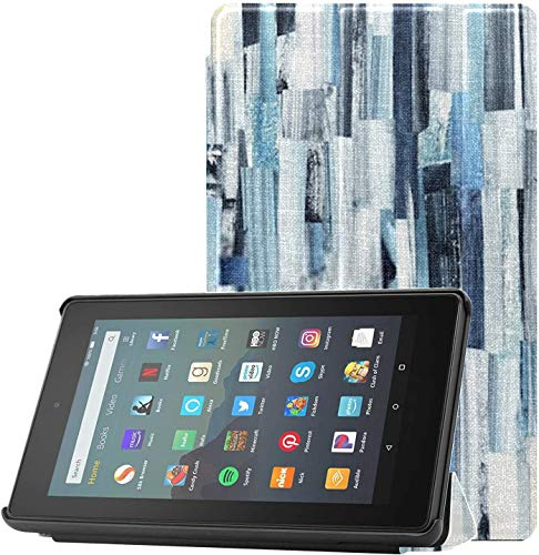 All-New Kindle Fire 7 Tablet Case (9th Generation, 2019 Release) Slim Fit Pu Leather Standing Abstract Art Background Multicolor Stripes Teals Fire 7 Tablet Standing with Auto WAK