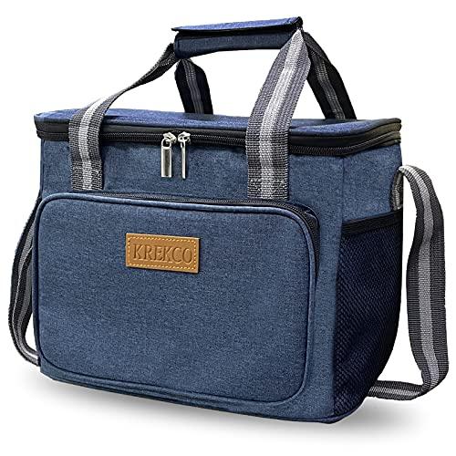 KREKCO 15L Kühltasche Faltbare Kühlbox Isoliertasche Thermotasche Picknicktasche Cooler Bag Lunchtasche Mittagessen Tasche für Lebensmitteltransport,Auto,Picknick,Büro,Camping,Reisen,Wandern,Unterwegs