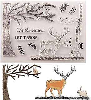 Welcome to Joyful Home 1pc X-mas Elk Background Clear Stamp for Card Making Decoration and Scrapbooking