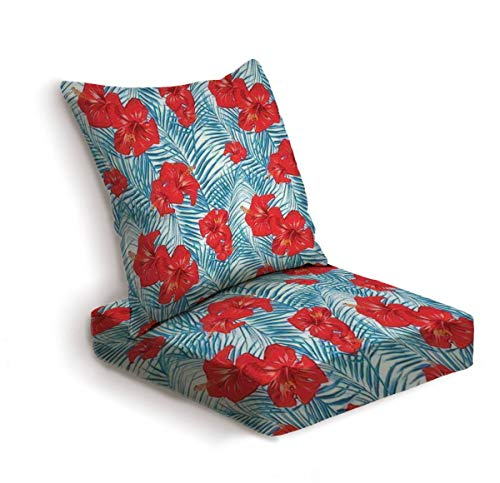 2-Piece Outdoor Deep Seat Cushion Set beautiful tropical pattern with palm leaves and hibiscus flowers Back Seat Lounge Chair Conversation Cushion for Patio Furniture Replacement Seating Cushion