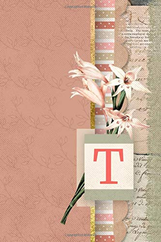 T Vintage Art Journal Monogram Letter T Peach Floral Personalized Blank Lined Journal Gift For Women Girls