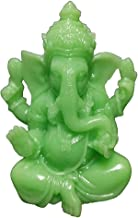 Glowing Resin LightGreen Ganesha Buddha Statue Ornament, Man-Made Jade Stone Elephant God Sculpture Craft, Miniatures Figu...