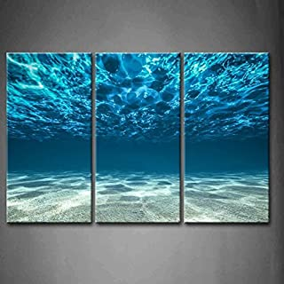 Print Artwork Blue Ocean Sea Wall Art Decor Poster Artworks for Homes 3 Panel Canvas..