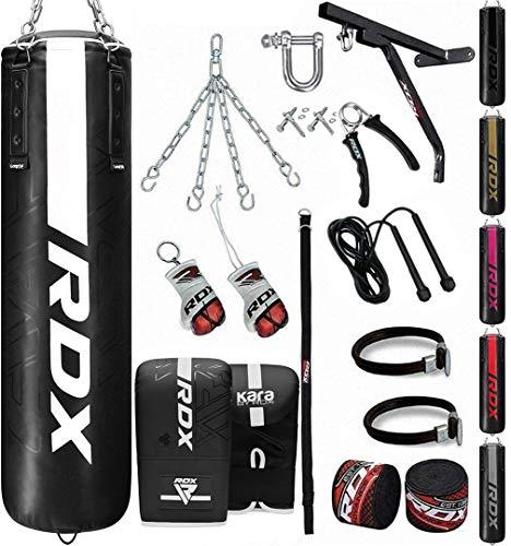 RDX 17PC Boxsack 5ft 4ft und Boxhandschuhe Set, Gefüllt Erwachsene Kara Sack mit Wandhalterung, Kette für Boxen, Kampfsport Kickboxen, Muay Thai, MMA Training, Punchingsäcke Handschuhe (MEHRWEG)