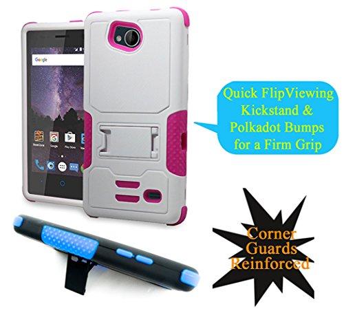 for 4.5' ZTE Majesty Pro TEMPO majestypro + PLUS Case Phone Case Polkadot Grip Shock proof Corner Bumper Kick stand Hybrid Slim Cover (White Pink)