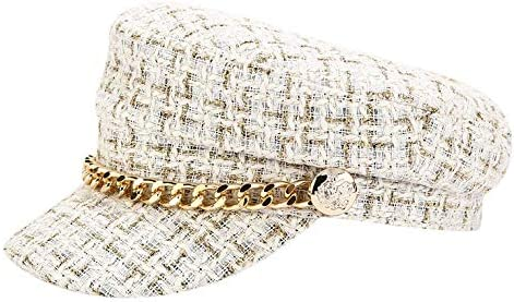 Newsboy Cap Beret Hat Fisherman's Sailor Womens Greek Hats Lined Peaked-Beret with Chain