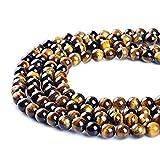 Naisicatar redondo 8mm Natural Tigre Ojo de piedra Beads joyería de 15,5 pulgadas que hace fuentes...