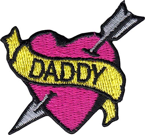 Daddy Banner on Pink Heart with Arrow - Tattoo Style - Cut Out Embroidered Iron On or Sew On Patch