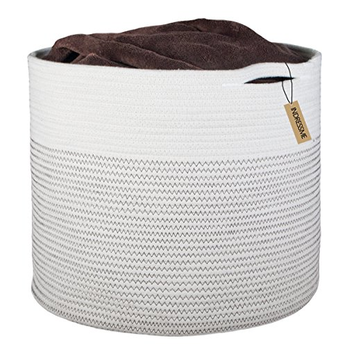 INDRESSME Extra Large Storage Basket Cotton Rope Basket Woven Baby Laundry Basket with Handle for Pillow Toy Cute Neutral Home Decor Addition Blanket Bin Toy Basket 17 x 14.7 Inches