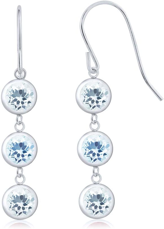 2.60 Ct Round Sky bluee Aquamarine Sky bluee Topaz 925 Sterling Silver Three Stone Dangle Earrings
