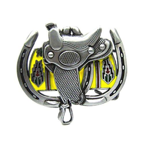 MASOP Western Cowboy Horse Saddle Horseshoe Metal Heavy Big Belt Buckles For Men, Multi, average