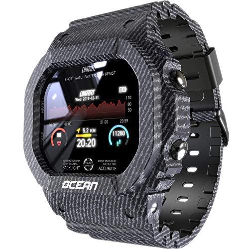Lokmat Ocean - Reloj inteligente con pantalla táctil de actividad física IP68, resistente al agua, reloj deportivo Bluetooth 4.0, multideporte, estilo gris