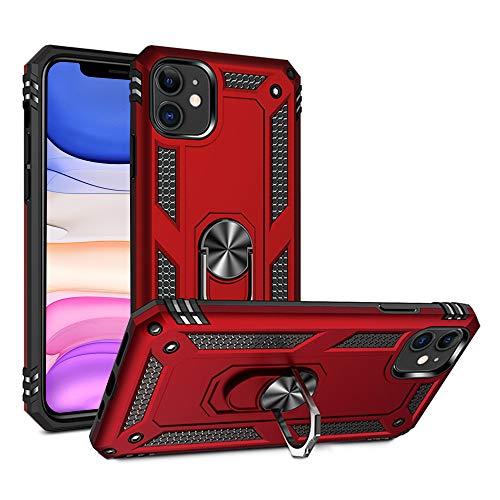 ULAK Funda para iPhone 11, [grado militar] Funda protectora de doble capa con función de soporte, suave TPU parachoques protector para Apple iPhone 11 de 6.1 pulgadas, color rojo