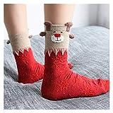 Yjswkfi Medias de Navidad Caliente Nuevo de Las Mujeres del calcetín Invierno estéreo Calcetines de algodón Suave Lindo de Santa Claus Regalos de Ciervos Calcetines de Navidad de Kawaii Año
