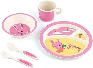 Peterson Housewares BF0263005S 5 Piece Kids Dinnerware Bamboo Fibre Set, Yummy Bunny
