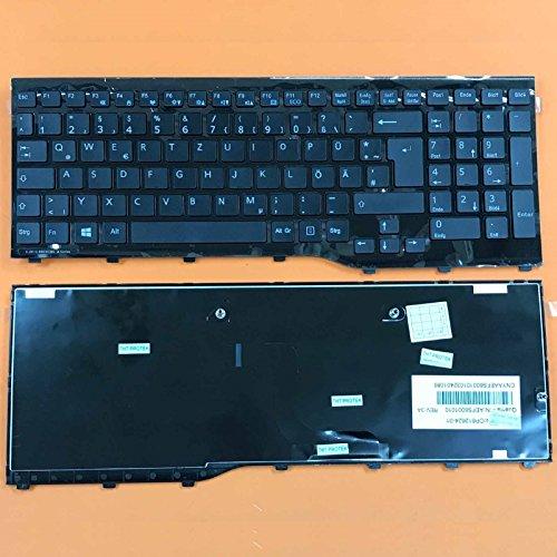 kompatibel mit Fujitsu Lifebook A514, A544, A552 Tastatur - Farbe: schwarz - mit Glänzend Rahmen - Deutsches Tastaturlayout