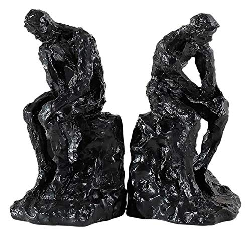 WQQLQX Statue Denkende Menschen Buchenden Charakter Skulptur Buchstützen Harz Kunstdekoration Statue Handwerk Figuren Schwere Buchstützen Desktop Dekoration Skulpturen