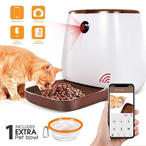 Masthome Mangiatoia automatica per cani con 1080P HD 3.3L Smart Pet Feeder con telecomando WIFI, Invia ciotola pieghevole per animali domestici