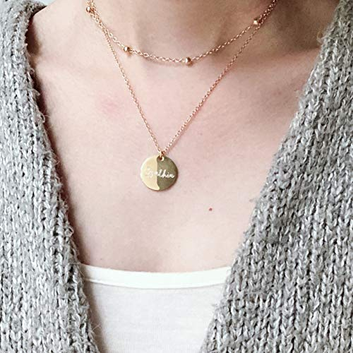 Engraved Disc Necklace, Name Layer Necklace, Engraved Name Necklace, Initial Disc Necklace, Personalised Necklace, Gold Disc Necklace, Engraved Layer Choker