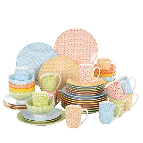 vancasso, série Natsuki, Service de Table, 48 pièces, pour 12 Personnes, Style Japonais, 4 Couleurs, en Porcelaine, Tasse, Assiette Plate, Assiette à Dessert, Bol céréal