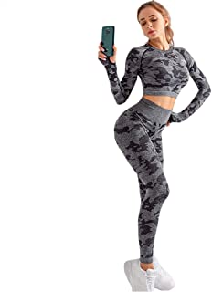 XFKLJ Sports Bra Yoga Pants Gym Set Clothing Seamless Gym Fitness Legging with Corp Tops Workout Sport Suit Women Sportswe...